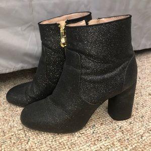 Zara Black Glitter Booties